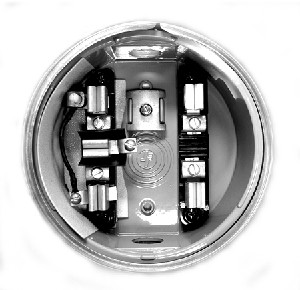 Round Meter Socket with Bypass, 5 Terminal